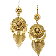 SALE Gold Victorian earrings with gold tassels and half orient seed pearls 18K yellow gold