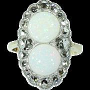 Antique opal ring diamond 14k yellow gold 19th century