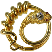 SALE Antique 18K yellow gold snake serpent brooch with big diamond