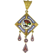 SALE Victorian micro-mosaic 18 karat yellow gold pendant with compartment