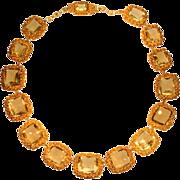 SALE Antique Georgian 18 Karat Yellow Gold Filigree Necklace Citrine Stones Circa 1820