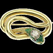 REDUCED Victorian enamel snake brooch rose cut diamond c1870