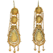 SALE Old antique Dutch chandelier filigree and granule long pendent earrings 14K yellow gold