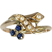 SALE Victorian Sapphire Pearl Gold Ring France c1880
