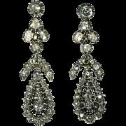 Diamond Chandelier Dangle Earrings Silver Gold Victorian c1830