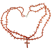 Red Coral Necklace Cross Pendant Gold c1870