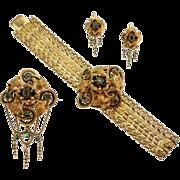 SALE French Antique Gold Enamel Parure Brooch Earrings Bracelet c1810