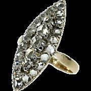 Victorian diamond ring yellow gold elongated shape c.1880