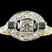 SALE Art Deco Geometric Diamond Ring Gold c.1920