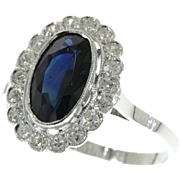SALE Sapphire and Diamond Deco Ring ca.1930