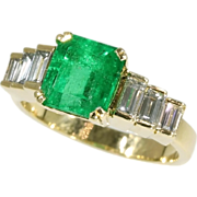 SALE French Estate Colombian Emerald Ring Diamond Baguette 18k Yellow Gold
