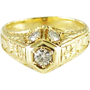 Art Deco Vintage Transitional Cut Diamond Ring in 14k Yellow Gold - Video