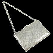 Lady's Antique Art Nouveau Sterling Silver Calling Card Case / Carnet de Bal