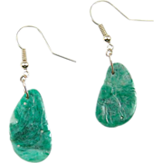 Vintage Carved Jadeite 14k Gold Earrings