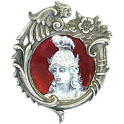 Antique Art Nouveau Figural Sterling Silver Enamel Miniature Portrait Figural Frame Brooch ...