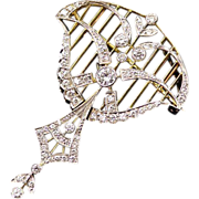 Lyrical Vintage Edwardian Style Pendant Brooch in Diamonds Platinum 18k Yellow Gold
