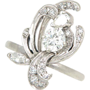 Vintage Fifties Diamond 14k White Gold Floral Flower Cocktail Ring