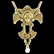 Vintage Figural Art Nouveau Style 14k Gold Diamond Pearl Woman Pendant