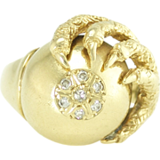 Vintage 14k Gold Diamond Ball and Claw Ring