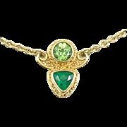 Alix and Company Tourmaline Peridot Necklace Chain Pendant in 18k 22k Gold