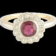Antique Edwardian Ruby Diamond Platinum Ring