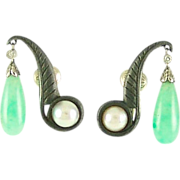 Vintage Marsh and Co 14k White Gold Jade Pearl Diamond Black Steel Iron Earrings