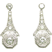 Estate Antique Style Diamond Platinum Earrings