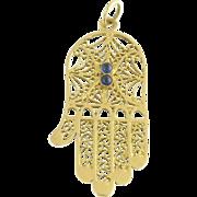Vintage Cabochon Sapphire and 14k Yellow Gold Figural Filigree Hamsa Hand Pendant Charm