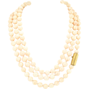 Vintage Angel Skin Coral Beads with 18k Gold Clasp