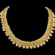Unique Antique Victorian High Karat Gold and Ruby Corundum Fringe Necklace - India
