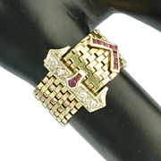 Vintage Retro Diamond Ruby 14k Rose Yellow and White Gold Flexible Buckle Ring