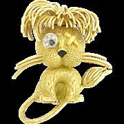 Whimsical 1960s Fred Figural Gem-Set Lion Brooch in 18k