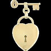 Vintage Napier Sterling Silver Figural Key-To-My-Heart Locket Brooch