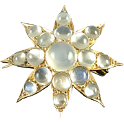 Estate Victorian Style Moonstone 14k Gold Star Pendant Brooch Pin