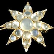 Estate Victorian Style Figural Moonstone 14k Gold Star Pendant Brooch Pin