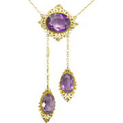 Antique Edwardian Amethyst Pearl Cannetille Negligee Pendant Necklace
