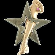 Vintage Retro Figural 14k Rose Gold Sterling Silver Ruby Star and Garter Broadway Burlesque Me