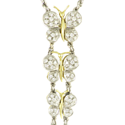Vintage Figural Diamond Butterfly Necklace in 18k White and Yellow Gold