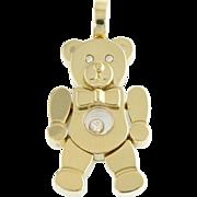 Vintage Chopard Happy Diamond Figural 18k Gold Teddy Bear with Bow Tie