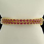 Vintage Pair of Ruby and 22k Gold Bangle Bracelets
