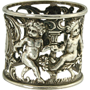 SOLD Charming Dancing Cherub Sterling Silver Art Nouveau Napkin Ring