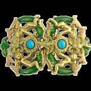 Antique Art Nouveau Figural English 18ct 18k Gold Persian Turquoise Enamel Cherub Putti Angel