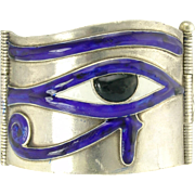 Vintage Silver Figural Enamel Eye of Horus and Lotus Flower Bangle Bracelet
