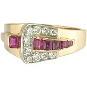 SALE PENDING Vintage Retro Diamond Ruby 14k Rose Gold Platinum Buckle Ring