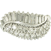 Vintage Diamond Platinum Double Wave Ring