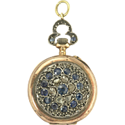 Charming Early Victorian Sapphire and Rose Cut Diamond Pocket Watch in Silver and 18k Rose ...