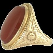 Art Deco Carnelian Engraved 14k Yellow Gold Ring