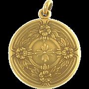 Antique Edwardian Wordley Allsop Bliss 14k Gold Floral Flower Locket Newark