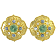 Exotic Kent Raible Tourmaline Diamond Blue Sapphire 18k Gold Etruscan Earrings
