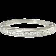 Vintage Art Deco Diamond Platinum Half Eternity Wedding Stacking Band Ring